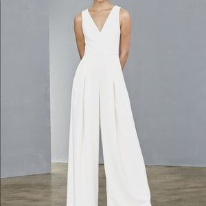 Amsale Sheer Back Jumpsuit Little White Dress